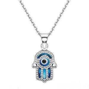 Jewelry - Real Silver Evil Eye Lucky Hamsa Charm Necklace
